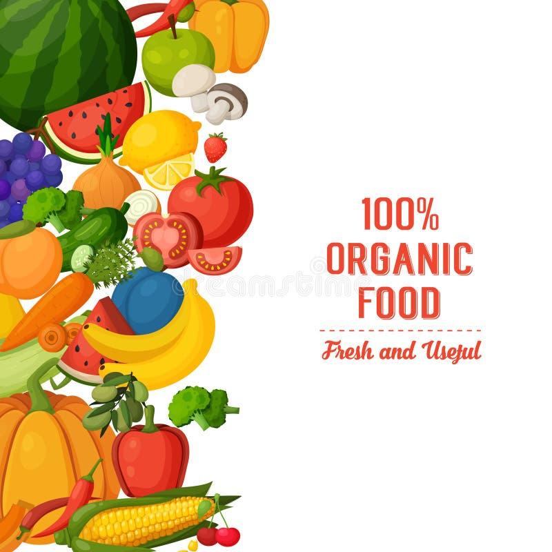 Färgrik frukt- och grönsakbakgrund vektor illustrationer
