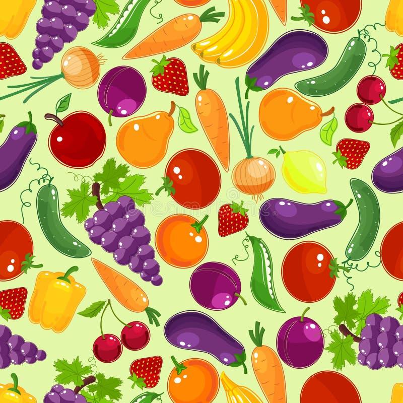 Färgrik frukt och sömlös modell för grönsaker royaltyfri illustrationer