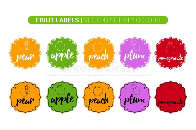 Färgrik fruktetikettuppsättning av päronet, Apple, persika, plommon, granatäpple Tecknad film som annonserar affärsklistermärkear arkivfoto