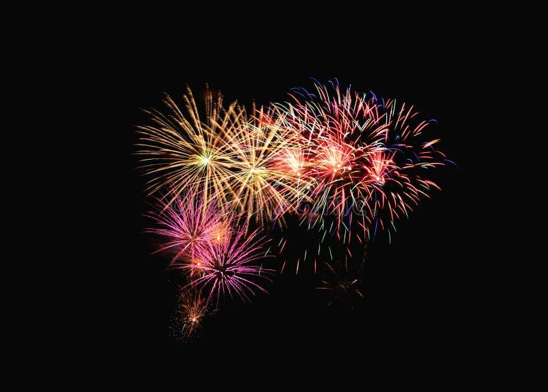 Färgrik fyrverkeriexplosion i festlig beröm arkivfoto