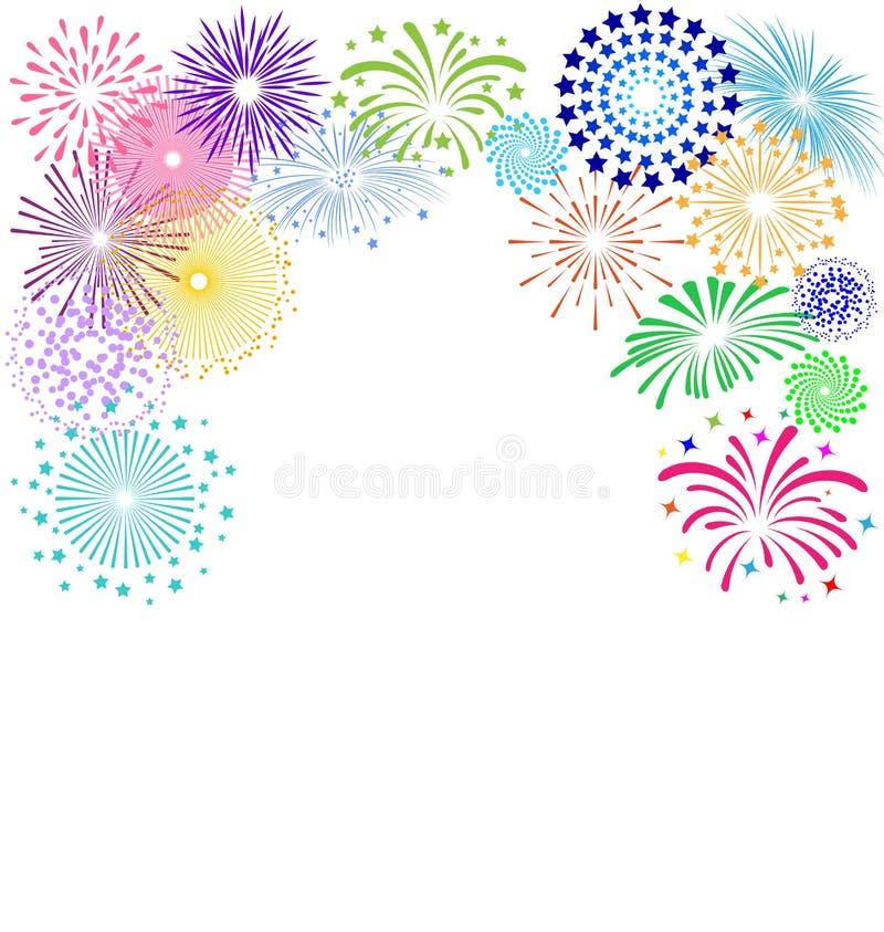 Färgrik fyrverkeriram på vit bakgrund för berömparti vektor illustrationer