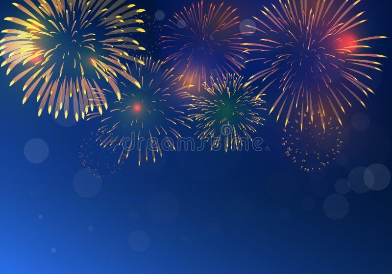 Färgrik fyrverkerivektor som mousserar i mörkt - blå himmel, fyrverkerier för festliga händelser royaltyfri illustrationer