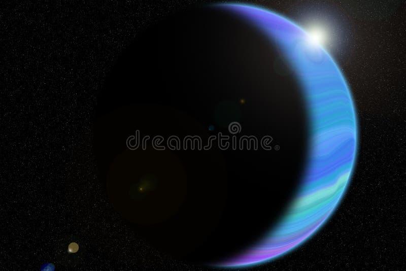 färgrik gasformig planet och sol royaltyfri illustrationer