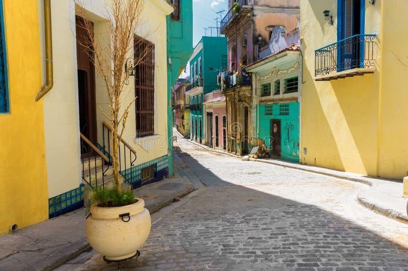 Färgrik gata i gammala Havana royaltyfri fotografi