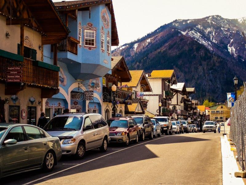 Färgrik gata i Leavenworth arkivbilder