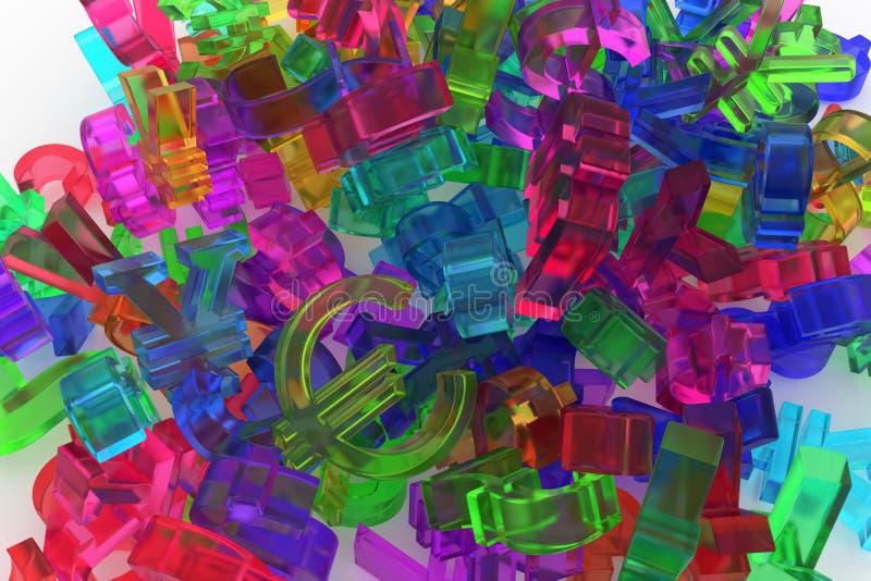 Färgrik genomskinlig plast- eller för exponeringsglas 3D tolkning bakgrund a royaltyfri illustrationer