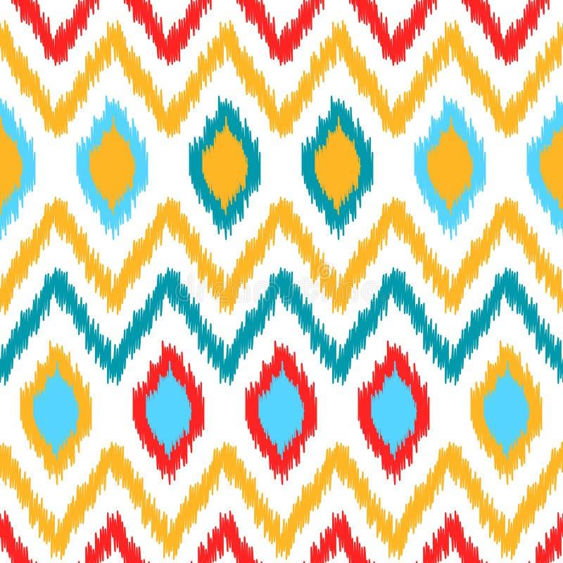 Färgrik geometrisk modell för etniskt ikatabstrakt begrepp i vit, guling, rött och blått, vektor vektor illustrationer