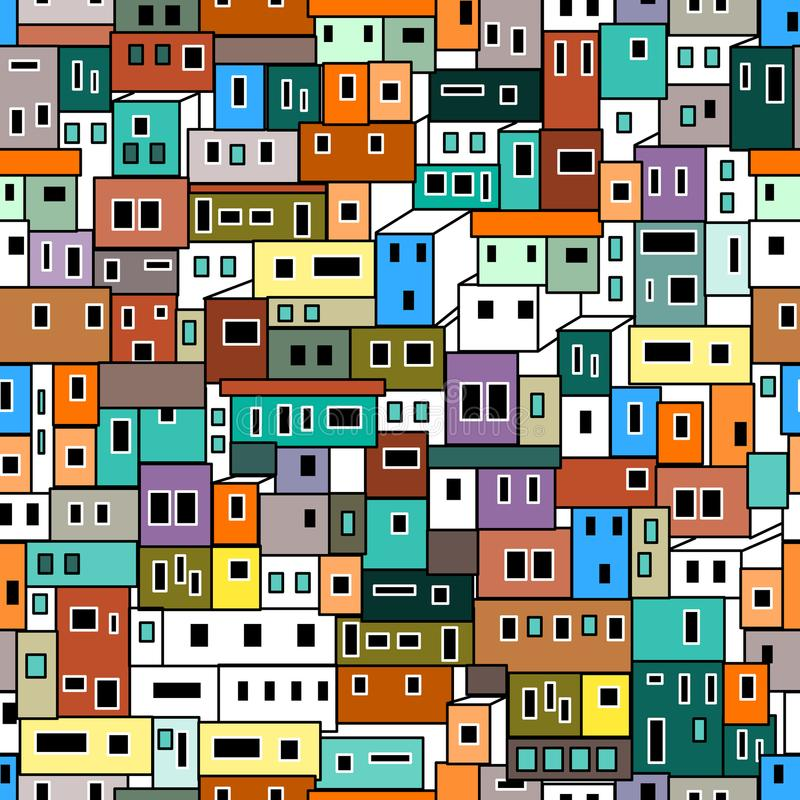 Färgrik geometrisk modell med stads- motiv stock illustrationer