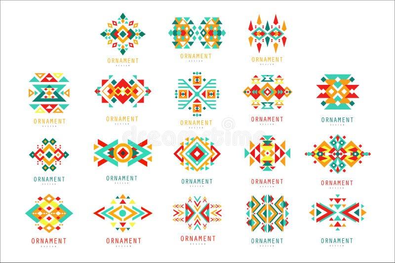 Färgrik geometrisk prydnaduppsättning, abstrakta illustrationer för logobeståndsdelvektor stock illustrationer