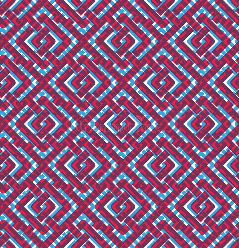 Färgrik geometrisk sömlös modell, symmetriska ändlösa vektorlodisar vektor illustrationer