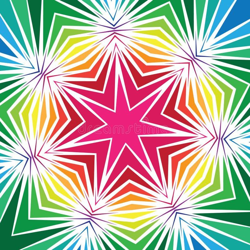 Färgrik geometrisk stjärnadesign stock illustrationer