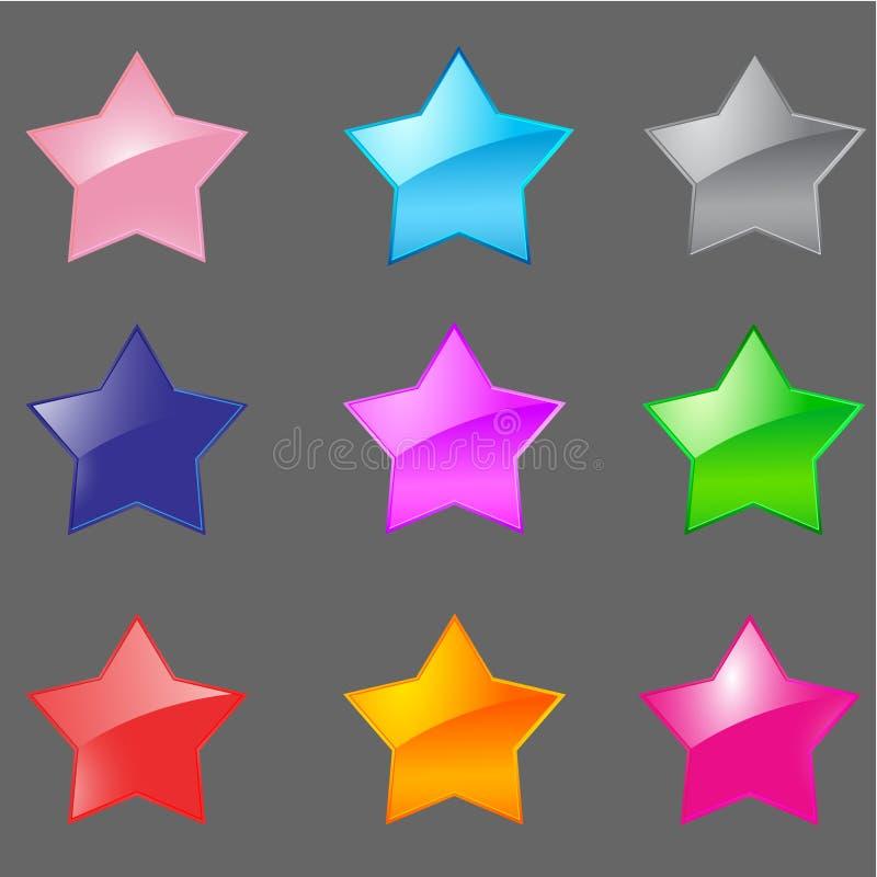 Färgrik glansig stjärnasymbolsset   vektor illustrationer