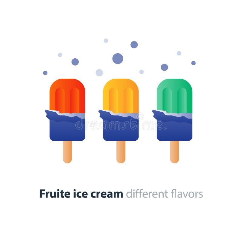 Färgrik glass på pinnen, anstrykningvariation, kall uppfriskande efterrätt stock illustrationer
