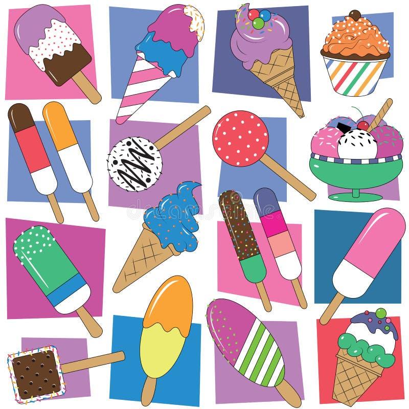 Färgrik glasssamlingsbakgrund vektor illustrationer