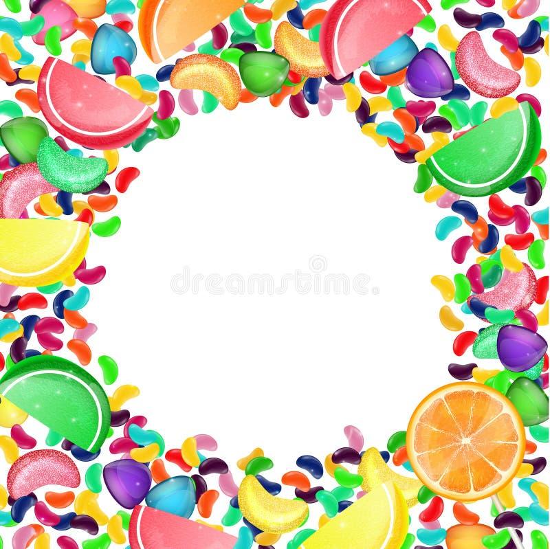 Färgrik godisbakgrund med gelébönor och gelégodisar royaltyfri illustrationer