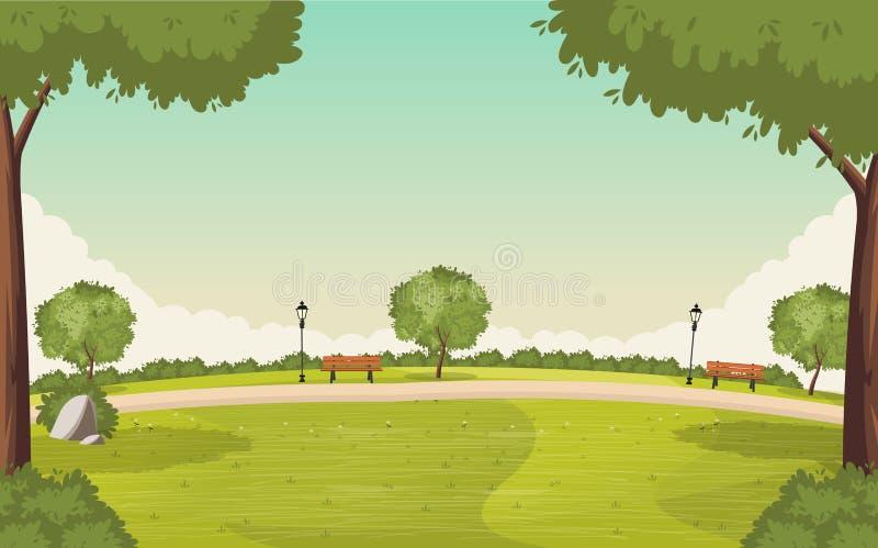 Färgrik gräsplan parkerar royaltyfri illustrationer