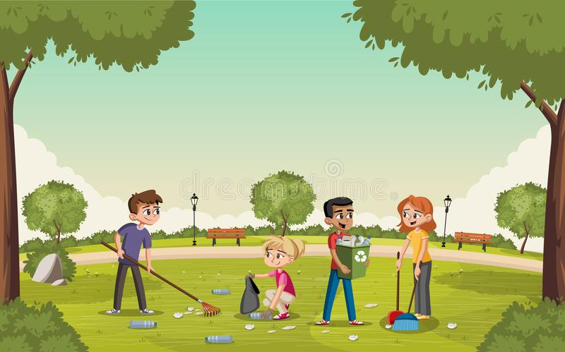Färgrik gräsplan parkerar med tonåringar som gör ren avfall royaltyfri illustrationer