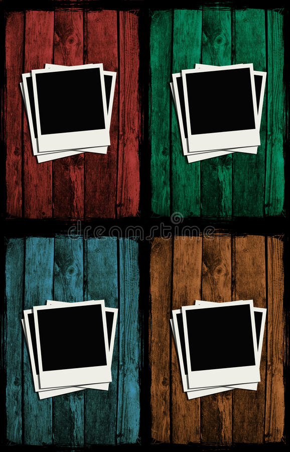 färgrik grunge över träpolaroidsväggar stock illustrationer