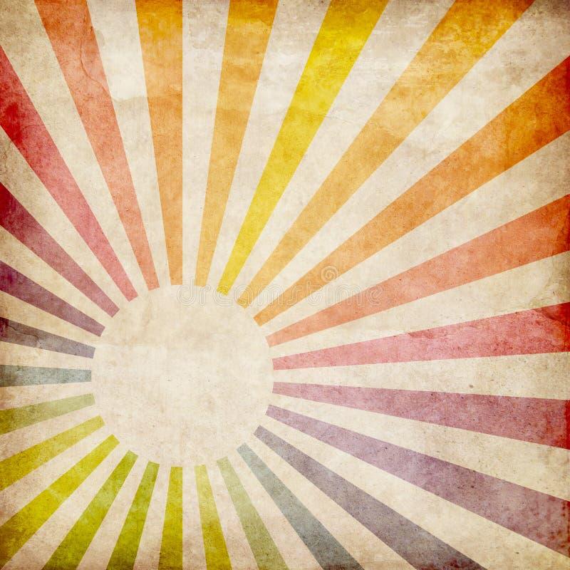 Färgrik grunge rays bakgrund stock illustrationer