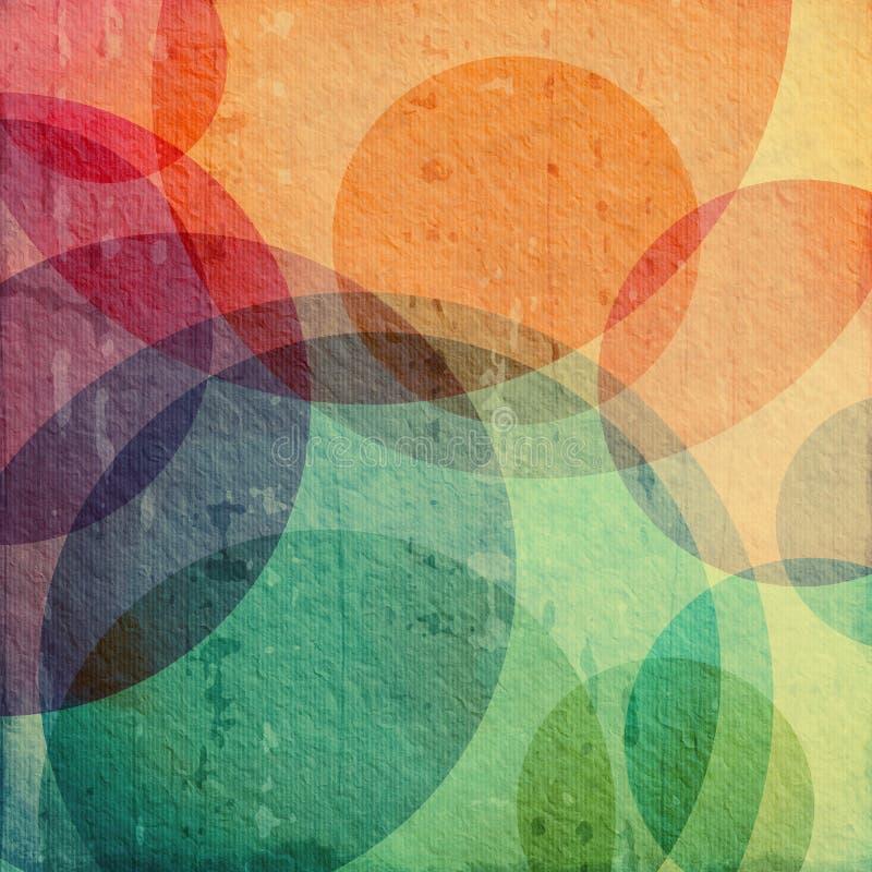 Färgrik grungebakgrund med cirklar royaltyfri illustrationer