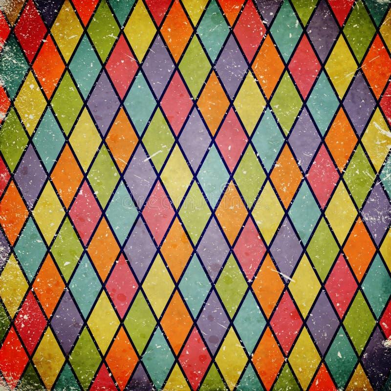 Färgrik grungebakgrund med harlekinmodellen stock illustrationer