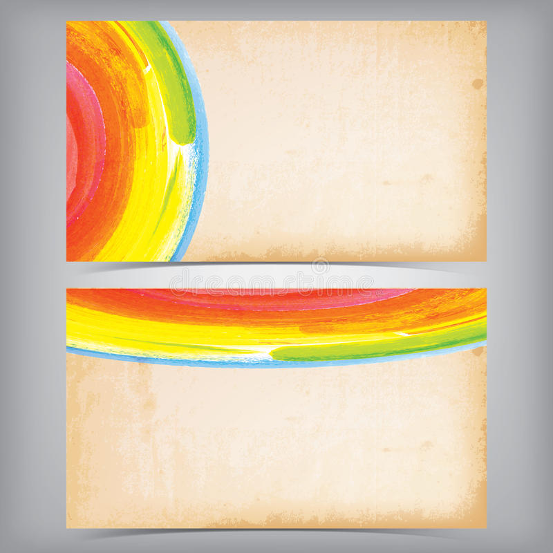 Färgrik grungy affärskortdesign royaltyfri illustrationer