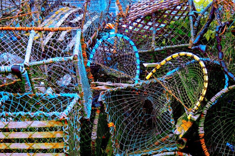Färgrik grupp av fiskekorgar royaltyfria bilder