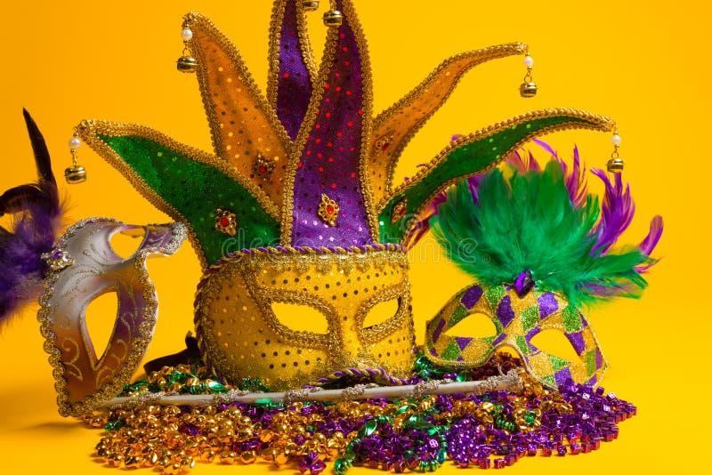 Färgrik grupp av Mardi Gras eller venetian maskeringar  royaltyfri bild