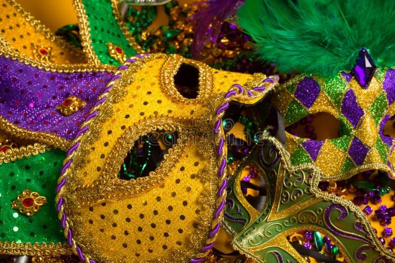 Färgrik grupp av Mardi Gras eller venetian maskeringar royaltyfri fotografi