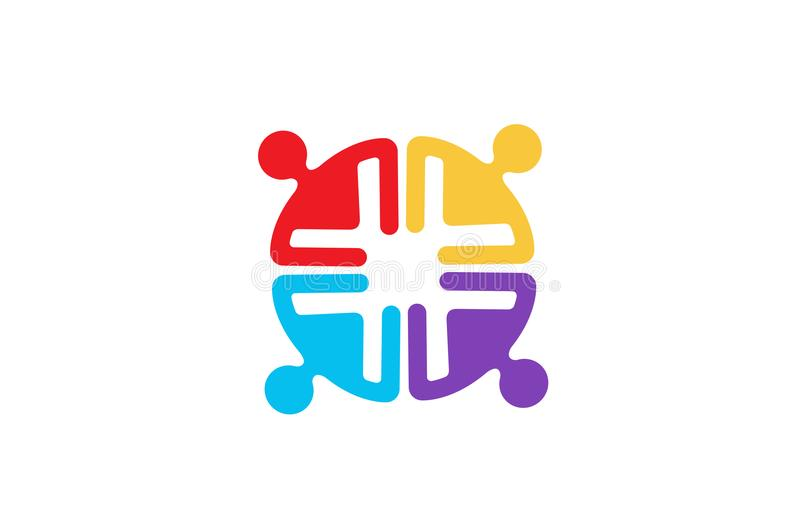 Färgrik grupp Team Logo för folk fyra stock illustrationer