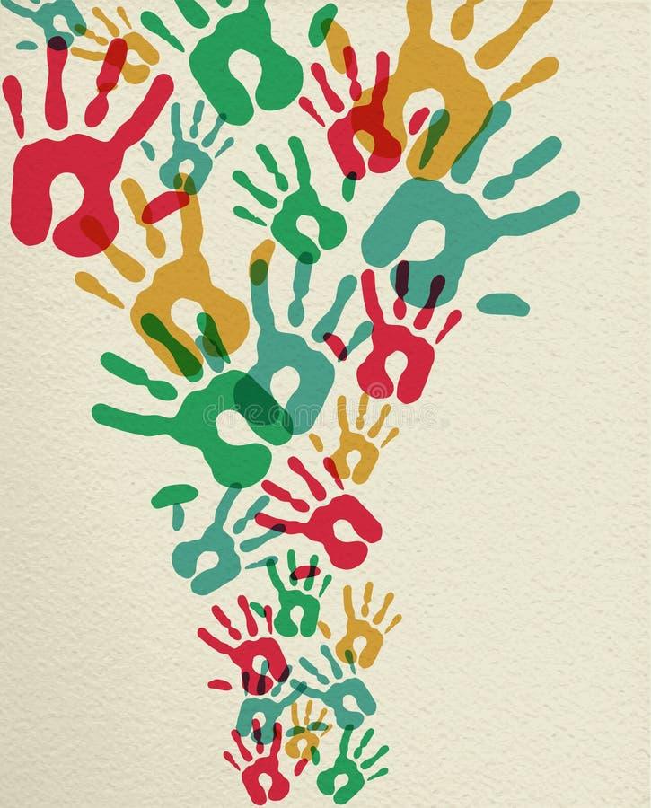 Färgrik gruppbegreppsbakgrund med handtryck royaltyfri illustrationer