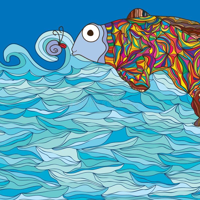 Färgrik gullig fisk vektor illustrationer