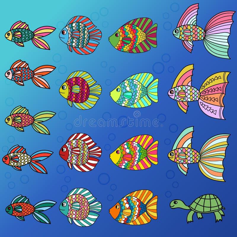Färgrik gullig uppsättning för tecknad filmklotterfisk Utdragen tunn linje tropisk akvariefisk- för hand och sköldpaddasymbolssam vektor illustrationer