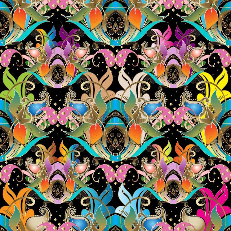 Färgrik härlig blom- paisley sömlös modell Vektorornam stock illustrationer