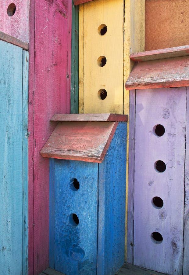 färgrik hög stigning för birdhouse arkivbild