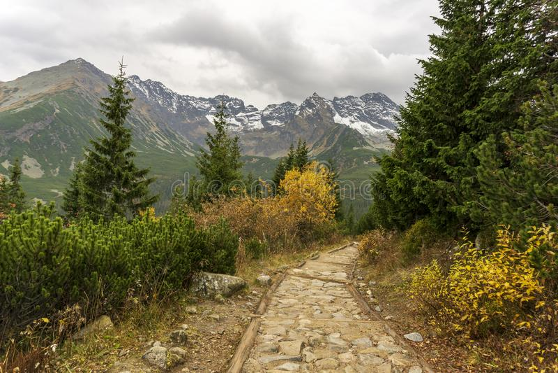 Färgrik höstbergslinga i den polska Tatrasen arkivbilder