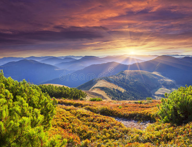 Färgrik höstsoluppgång i Carpathian berg arkivfoton