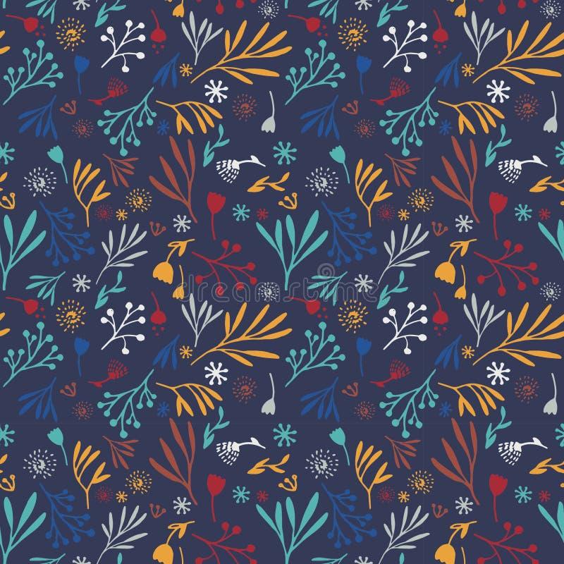 Färgrik hand-dragen sömlös blom- modell för klotter på marinblått stock illustrationer