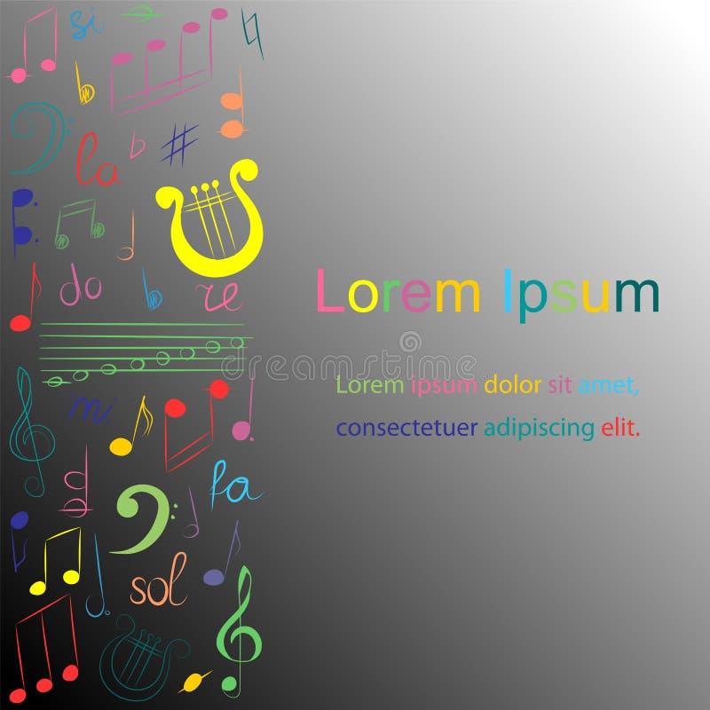 Färgrik hand dragen uppsättning av musiksymboler på monokrom bakgrund KlotterG-klav, Bass Clef, anmärkningar och lyra vektor illustrationer