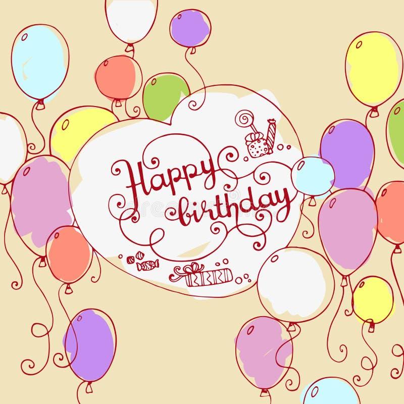 Färgrik hand dragit klotterkort för lycklig födelsedag vektor illustrationer