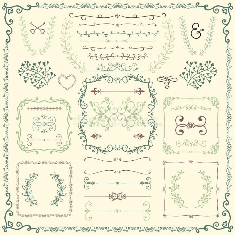 Färgrik hand drog dekorativa klotterdesignbeståndsdelar vektor illustrationer