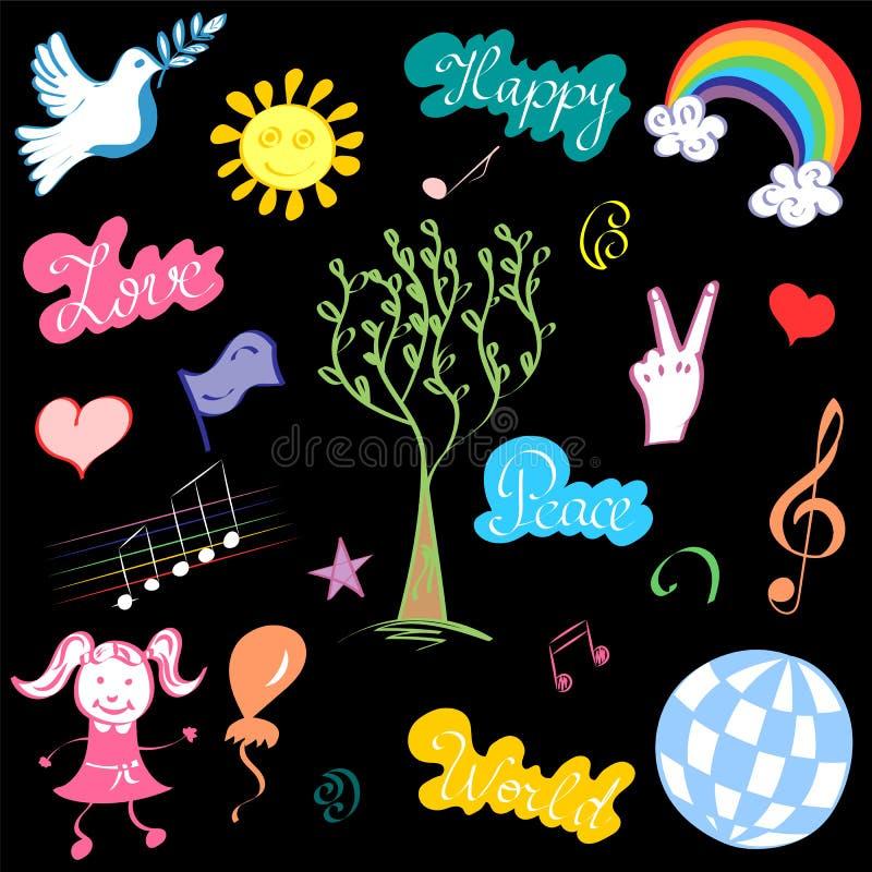 Färgrik hand drog symboler av fred Klotterteckningar av duvan, träd, hjärtor, sol, regnbåge vektor illustrationer