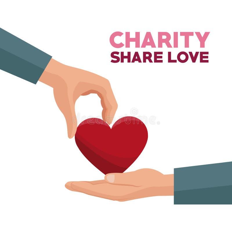 Färgrik hand som ger en röd förälskelse för hjärtavälgörenhetaktie stock illustrationer