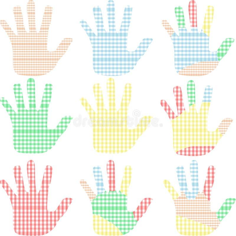 färgrik hand vita isolerade tryck som ställs in royaltyfri illustrationer