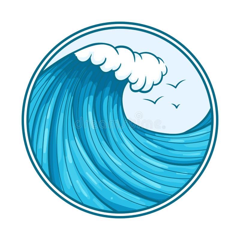 Färgrik havvåg och seagulls med översikten och den runda ramen royaltyfri illustrationer