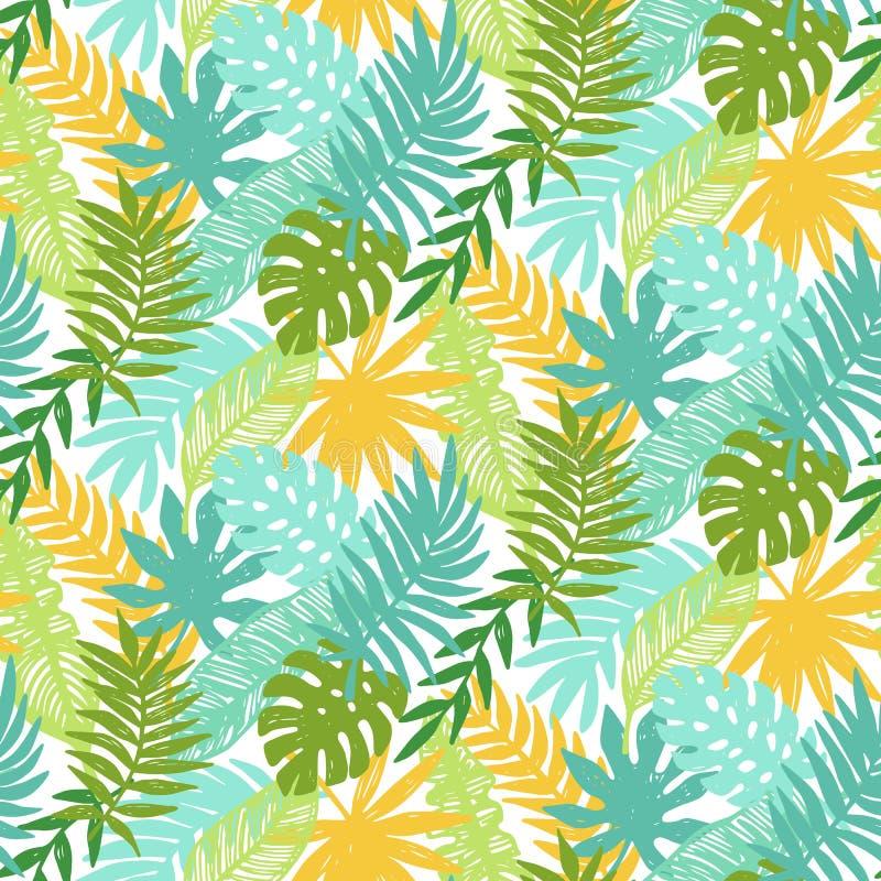 Färgrik hawaiibo planterar den sömlösa modellen royaltyfri illustrationer