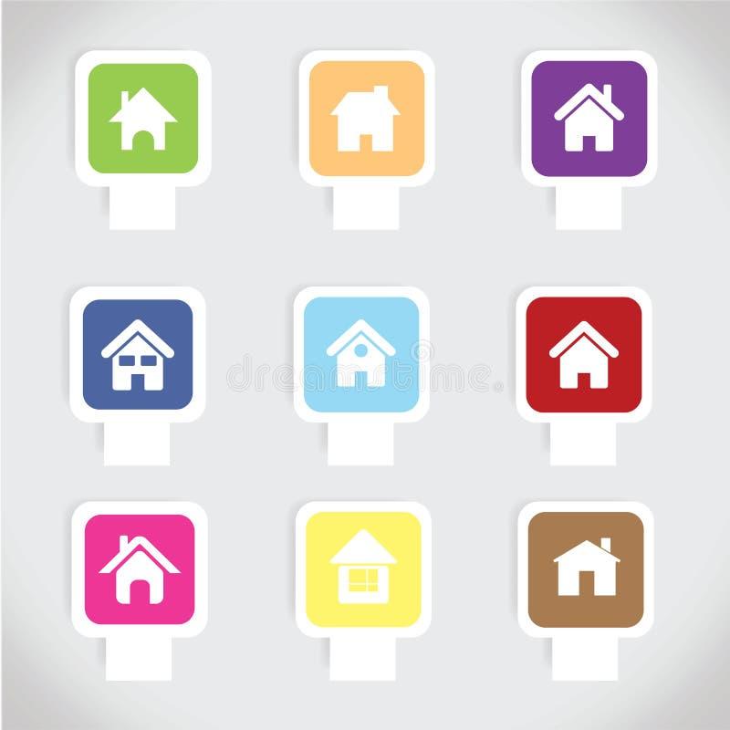 Färgrik hem- symbolsuppsättningvektor arkivfoto
