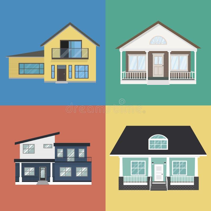 Färgrik hem- yttre designsamling i plan stil fotografering för bildbyråer