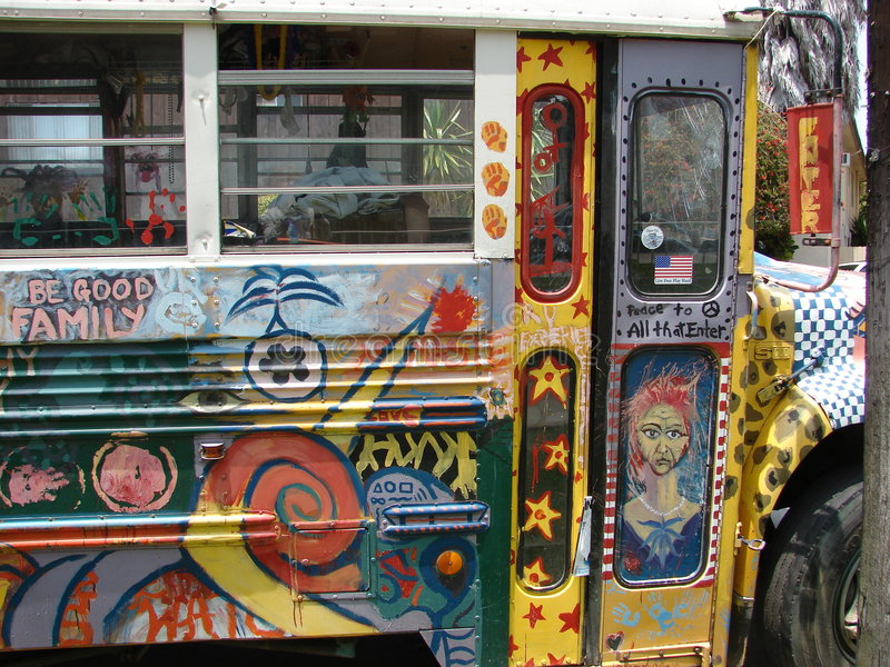 färgrik hippie för buss arkivbild