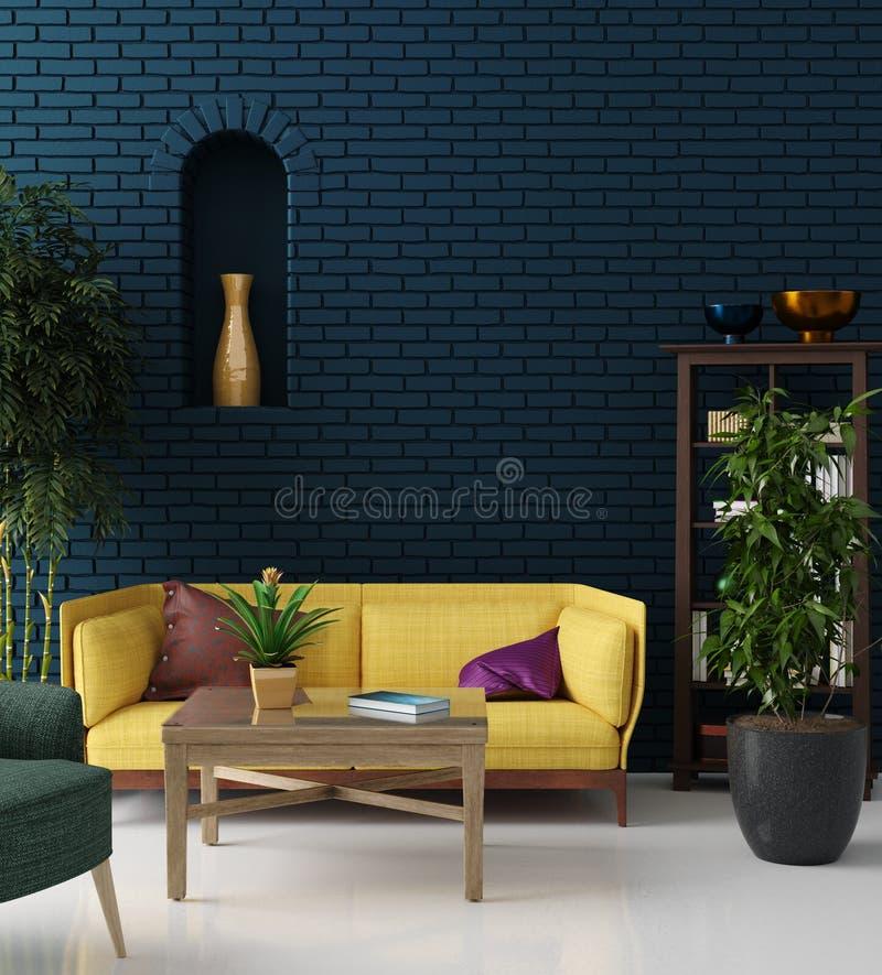 Färgrik hipstervardagsrum med den blåa tegelstenväggen och den gula soffan, bohemisk stil royaltyfri illustrationer